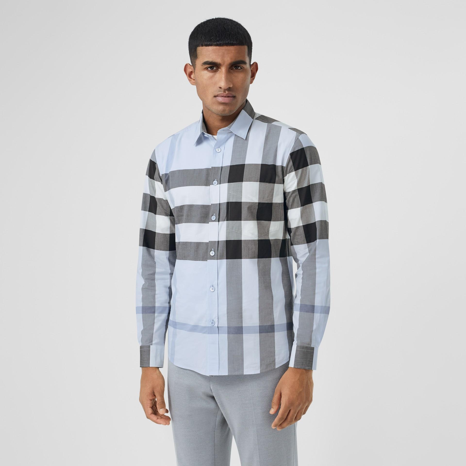 Check Stretch Cotton Poplin Shirt in Chalk Blue - Men | Burberry United Kingdom - gallery image 0
