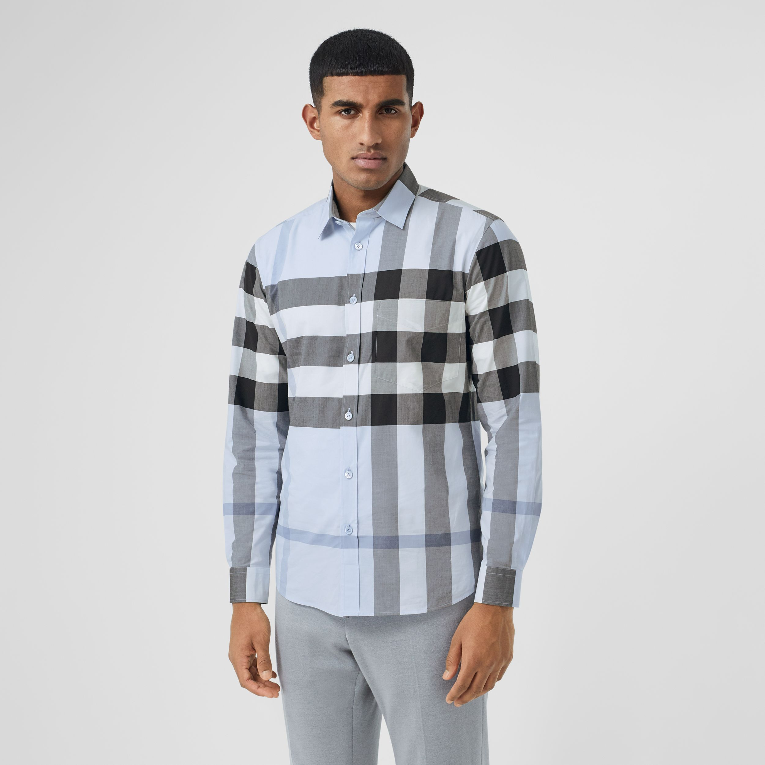 Check Stretch Cotton Poplin Shirt in Chalk Blue - Men | Burberry - 1