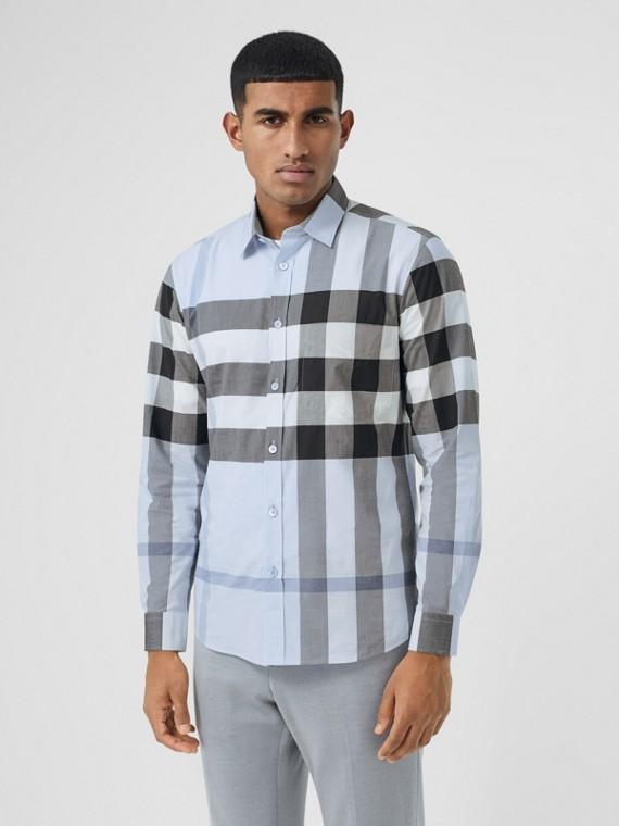 Camisa de popeline de algodão stretch xadrez (Azul Giz)