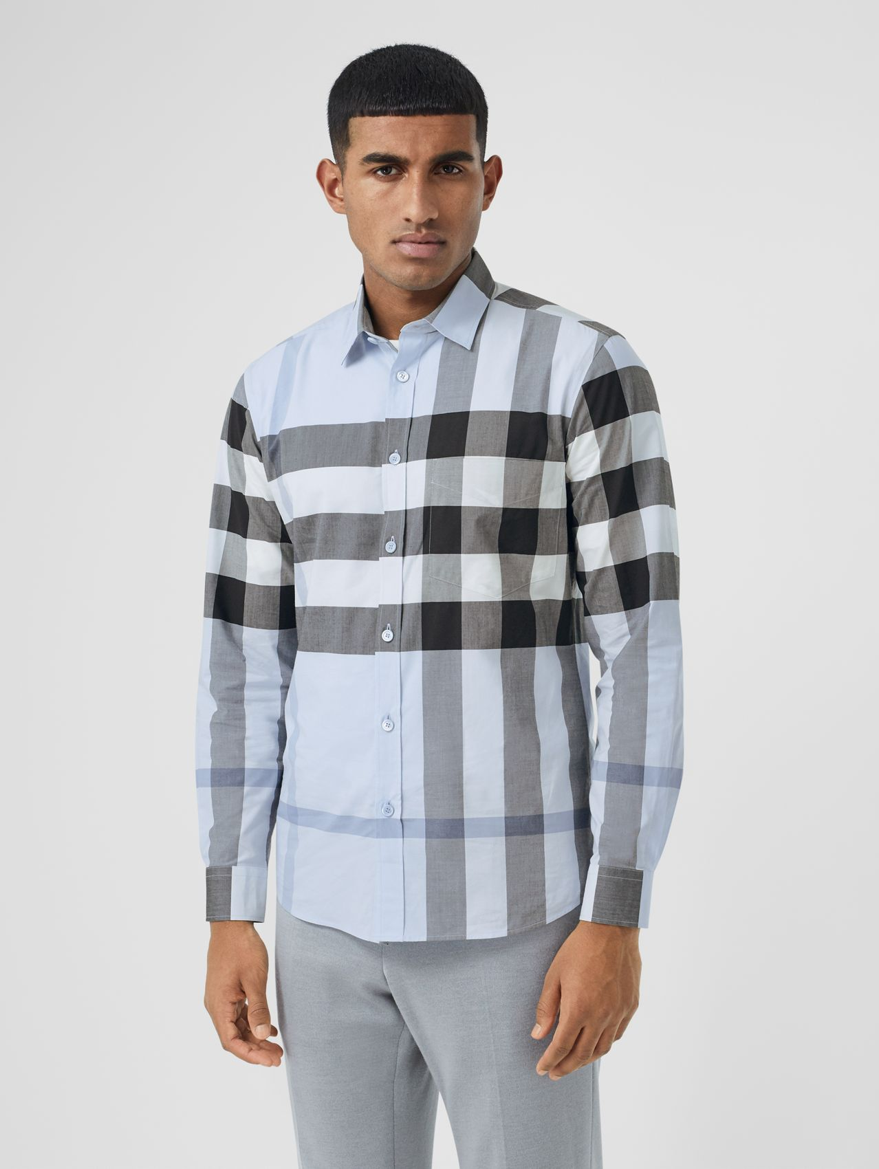 Check Stretch Cotton Poplin Shirt in Chalk Blue