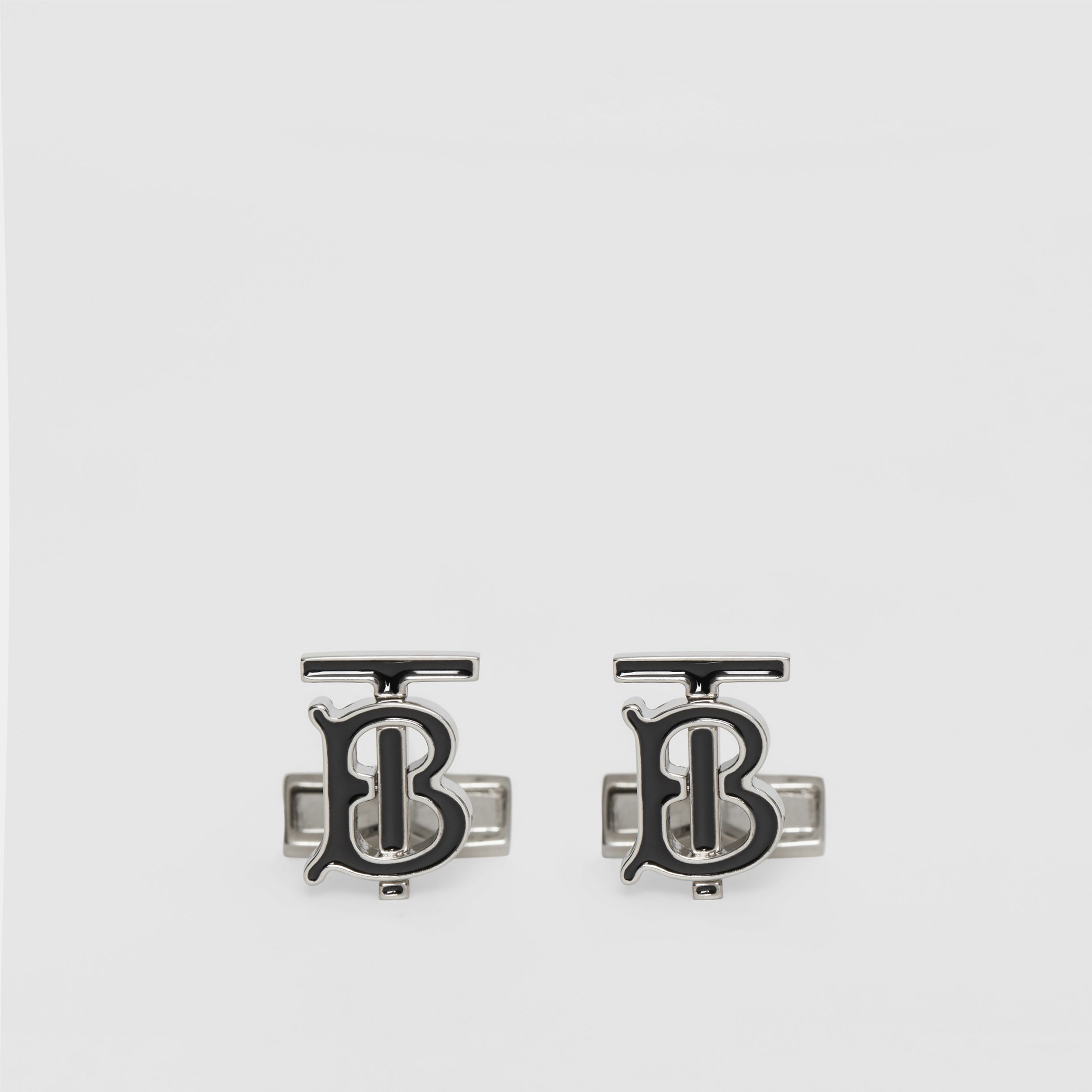 Monogram Motif Enamel and Palladium-plated Cufflinks in Palladium/black - Men | Burberry - 1
