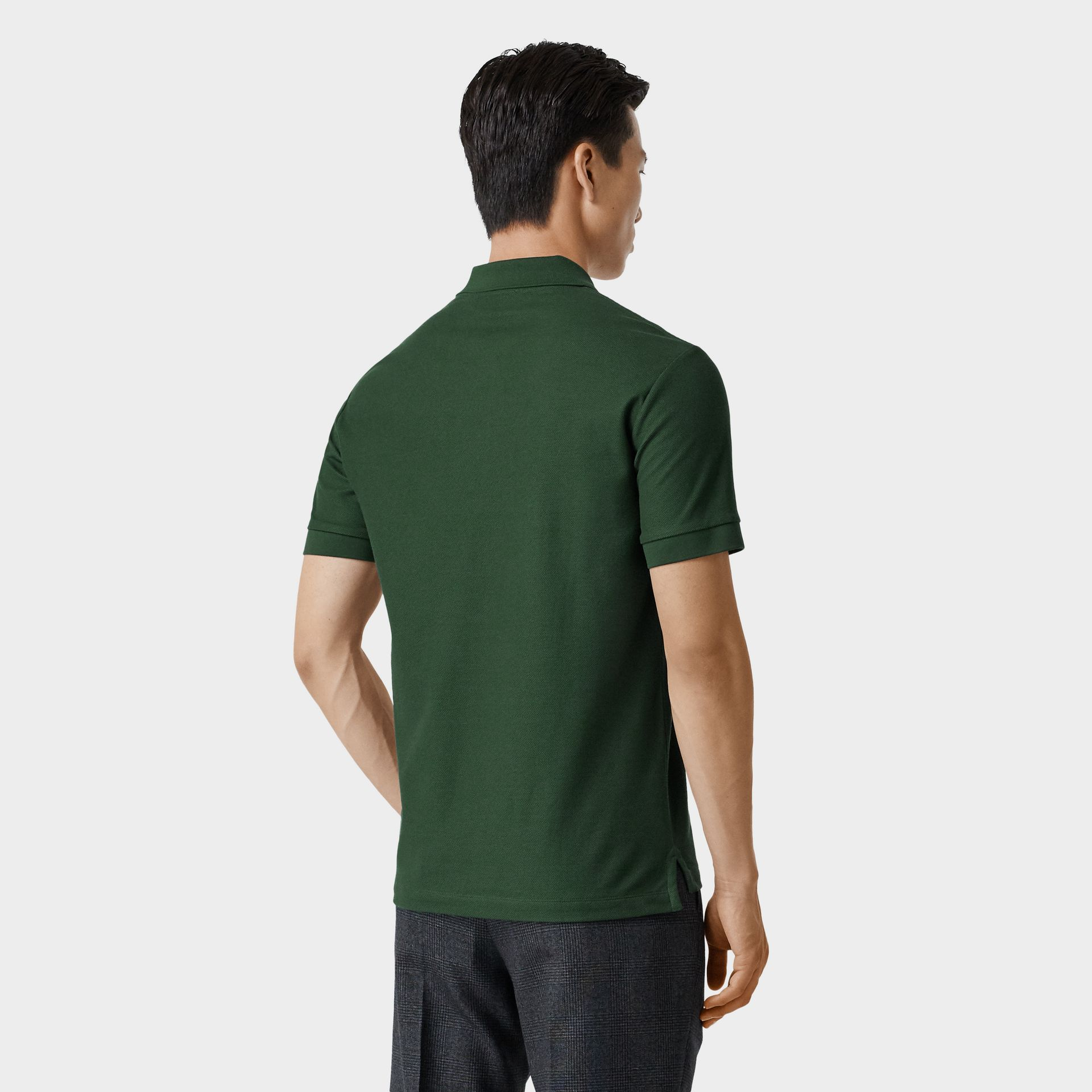 Monogram Motif Cotton Piqué Polo Shirt in Dark Pine Green - Men | Burberry - gallery image 2