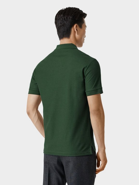 Monogram Motif Cotton Piqué Polo Shirt in Dark Pine Green - Men | Burberry - cell image 1