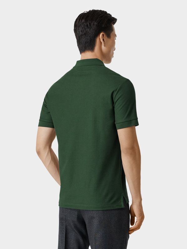 Monogram Motif Cotton Piqué Polo Shirt in Dark Pine Green - Men | Burberry - cell image 2