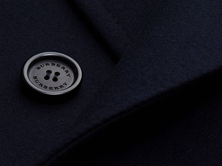 Azul marino Abrigo en mezcla técnica de lana y cachemir con botonadura doble y cuello en piel - cell image 1
