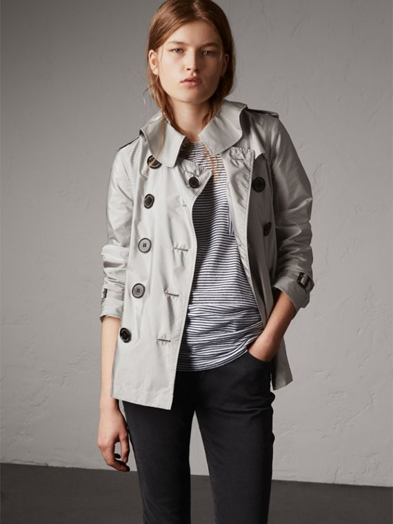 Showerproof Trench Coat in Pale Grey - Women | Burberry