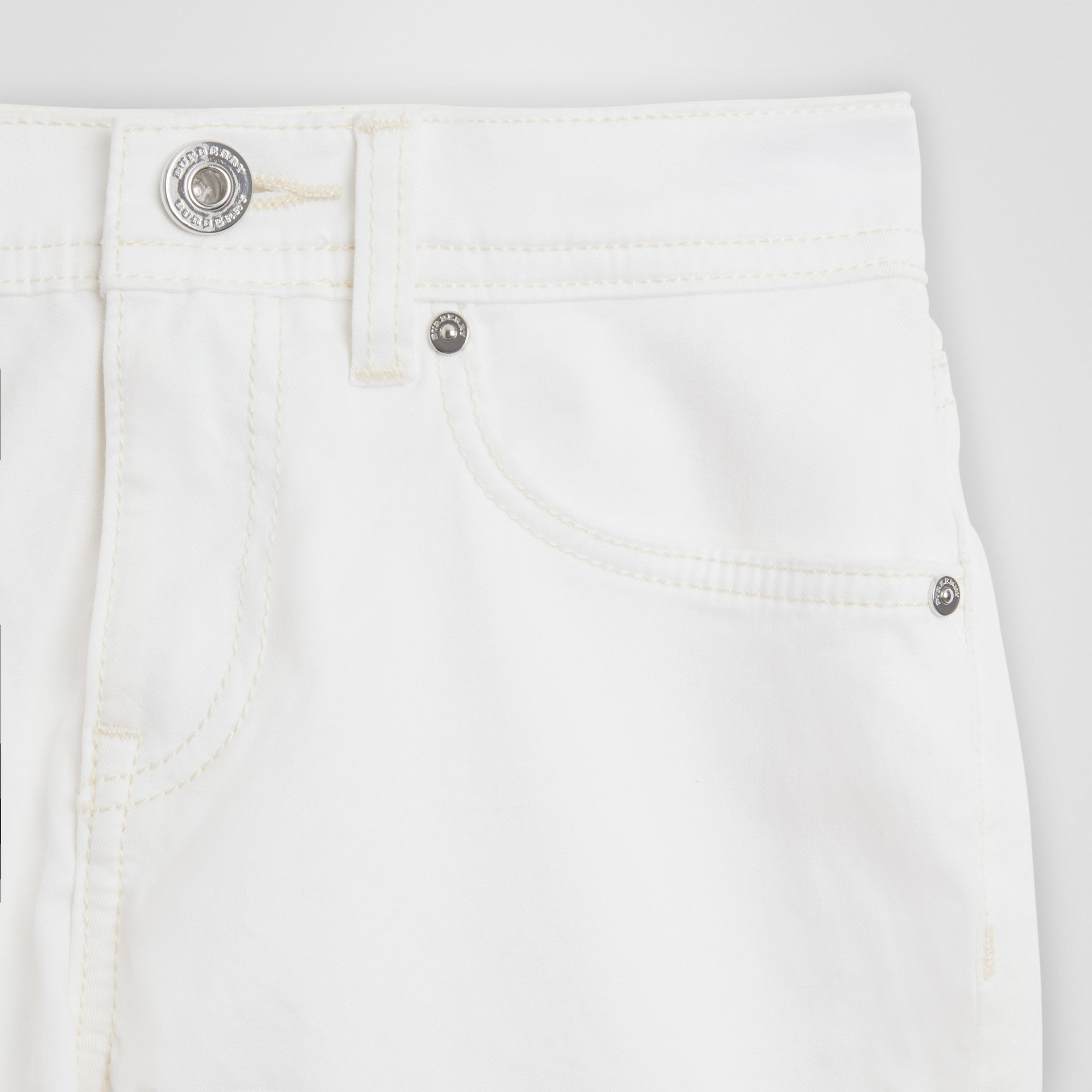 Relaxed Fit Stretch Denim Shorts in White - Girl | Burberry - gallery image 4
