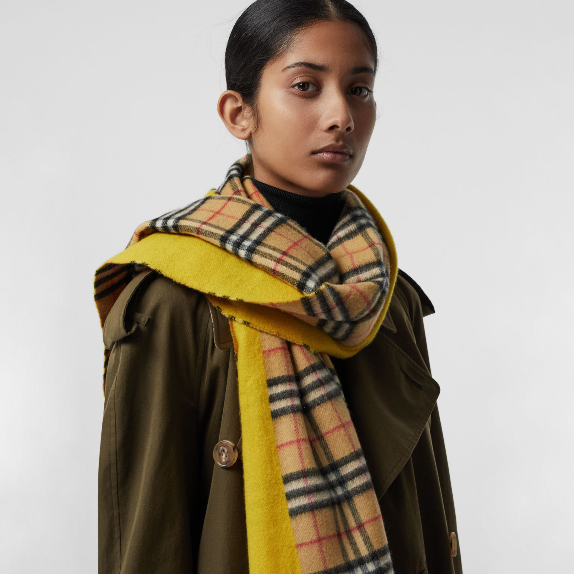 Colour Block Vintage Check Cashmere Scarf in Gorse Yellow | Burberry - gallery image 5