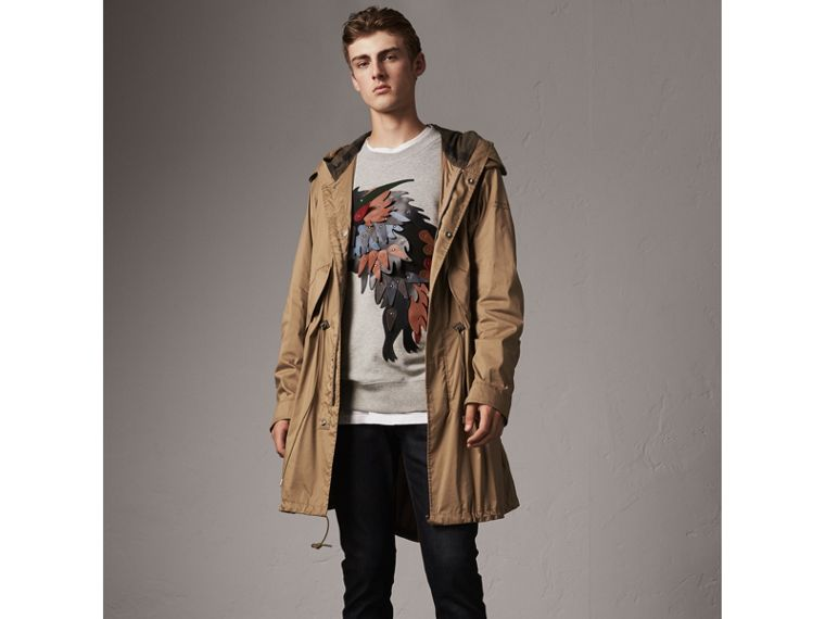 Unisex Beasts Leather Appliqué Cotton Sweatshirt in Pale Grey Melange - Men | Burberry - cell image 4