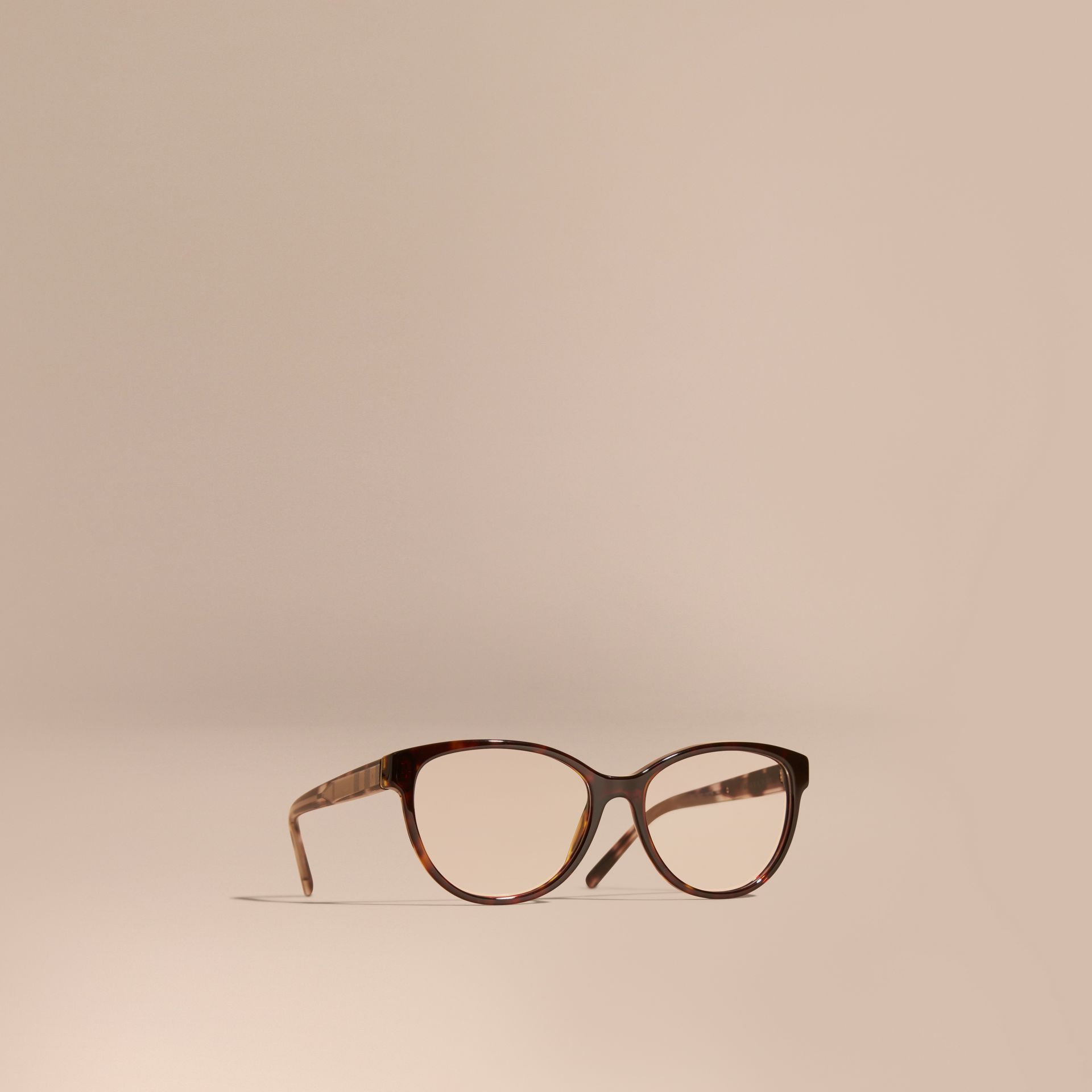 Check Detail Round Optical Frames Light Russet Brown - gallery image 1