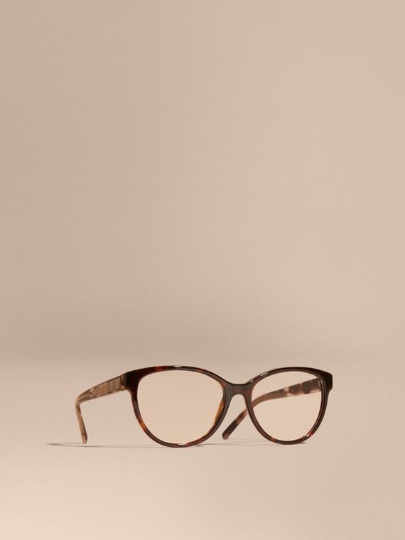 Check Detail Round Optical Frames Light Russet Brown