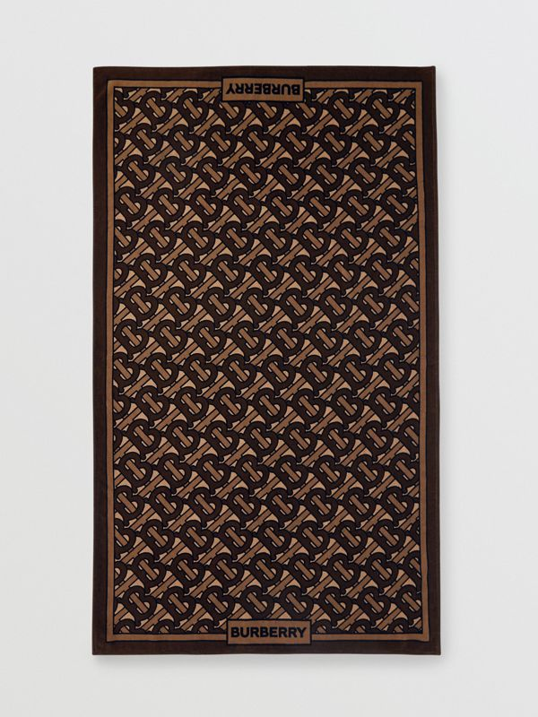 Monogram Print Cotton Towel in Brown | Burberry Hong Kong - cell image 2