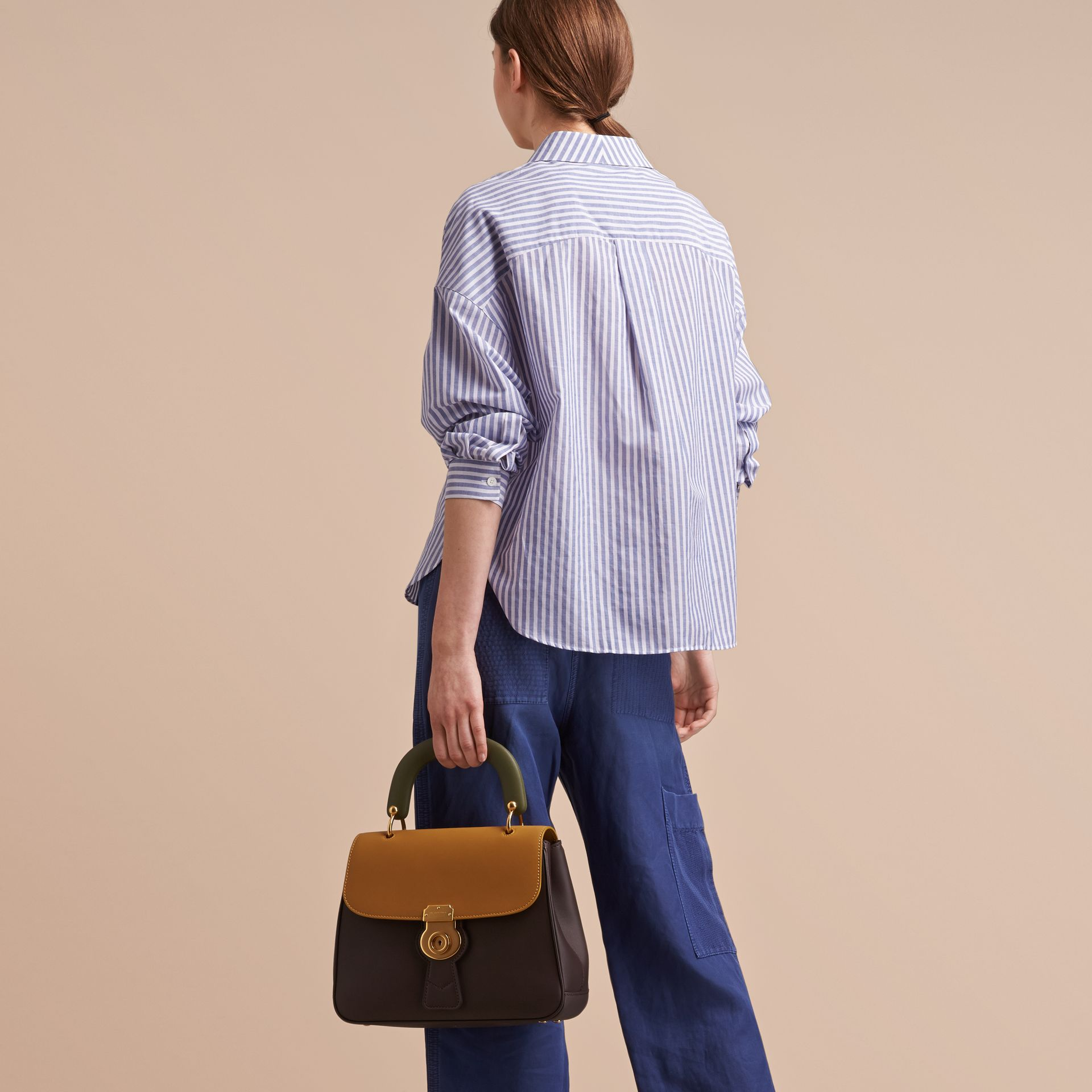Pleated Bib Striped Cotton Shirt - gallery image 3