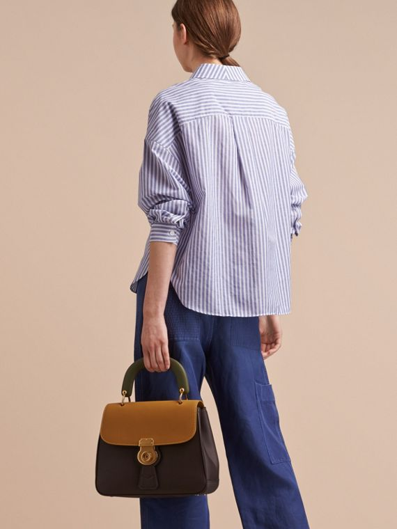 Pleated Bib Striped Cotton Shirt - cell image 2