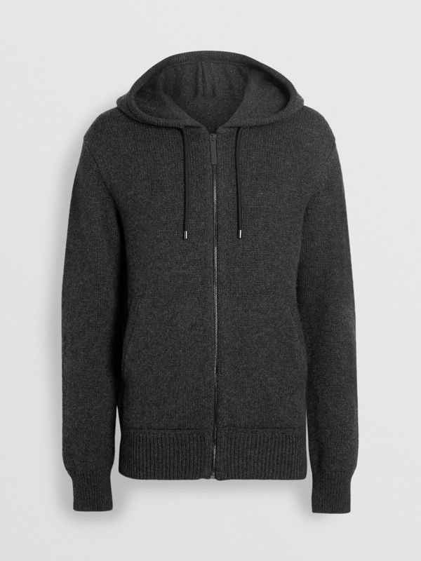 Cashmere Hooded Top in Charcoal Melange - Men | Burberry - cell image 3