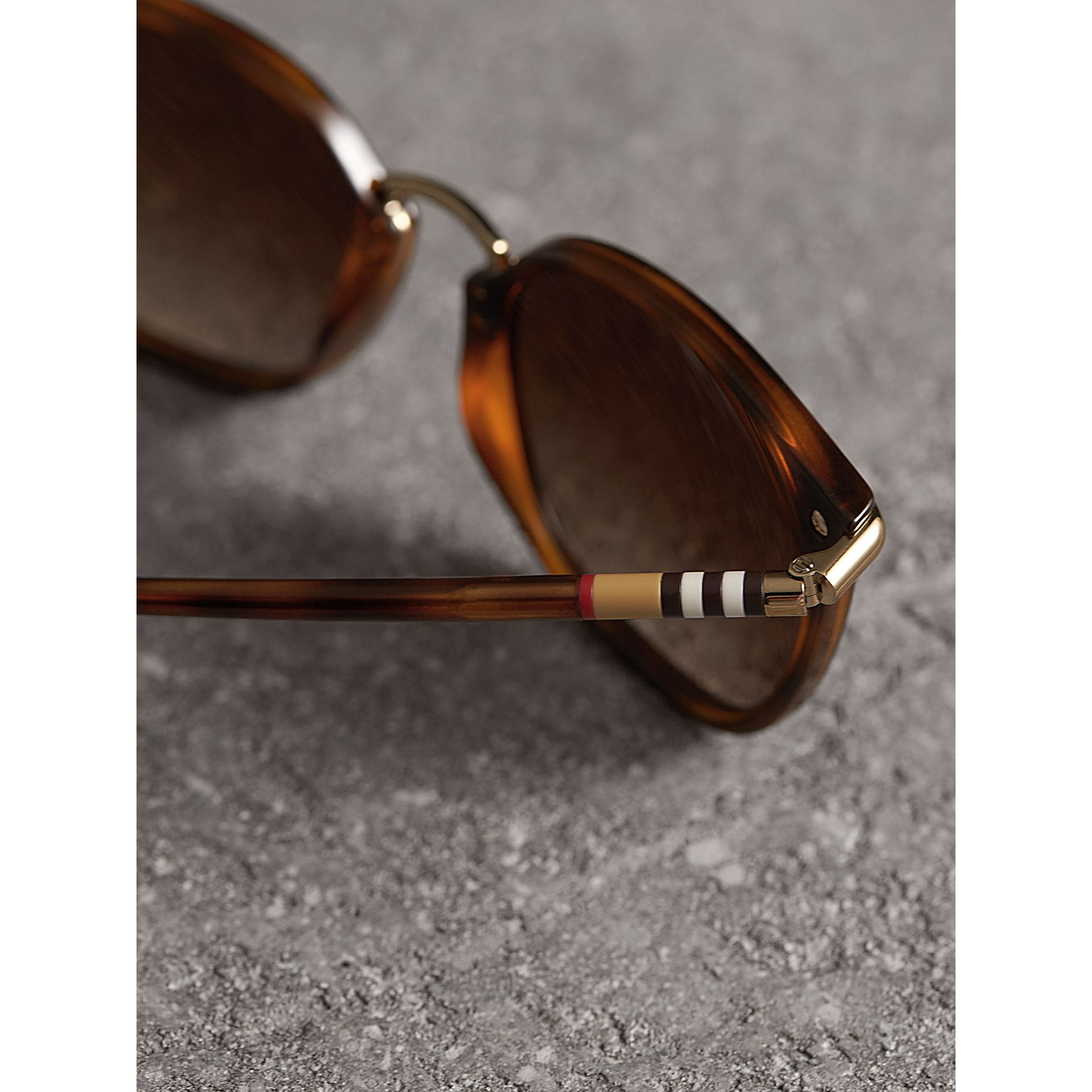 Check Detail Square Frame Sunglasses in Tortoise Shell - Women | Burberry United Kingdom - gallery image 1