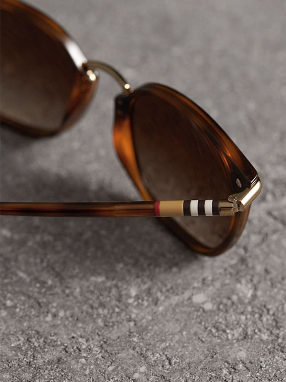 Check Detail Square Frame Sunglasses in Tortoise Shell - Women | Burberry United States - cell image 1