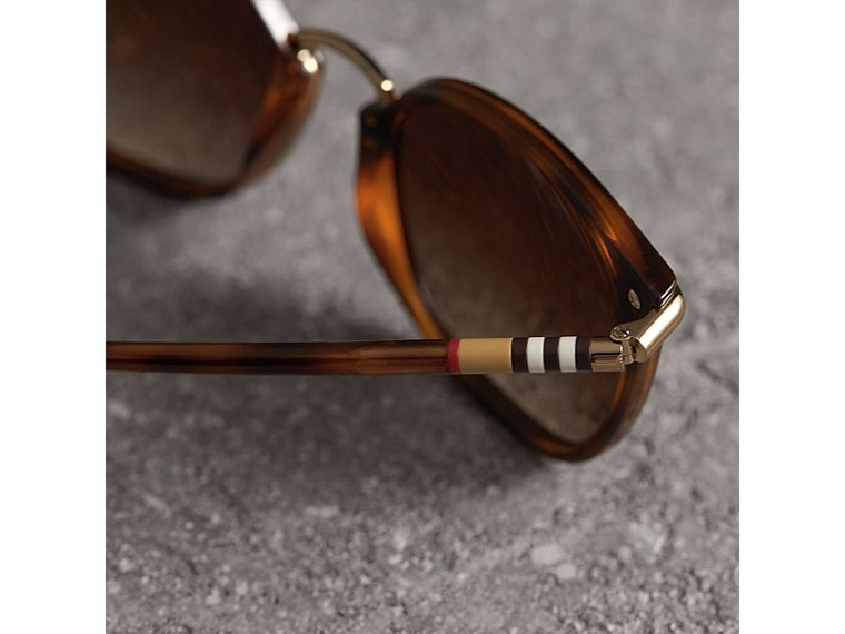 Check Detail Square Frame Sunglasses in Tortoise Shell - Women | Burberry - cell image 1