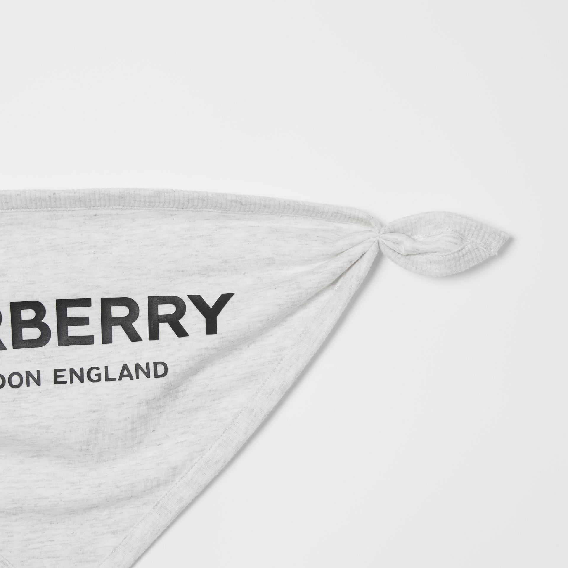 Logo Print Cotton Three-piece Baby Gift Set in White Melange - Children | Burberry - gallery image 8