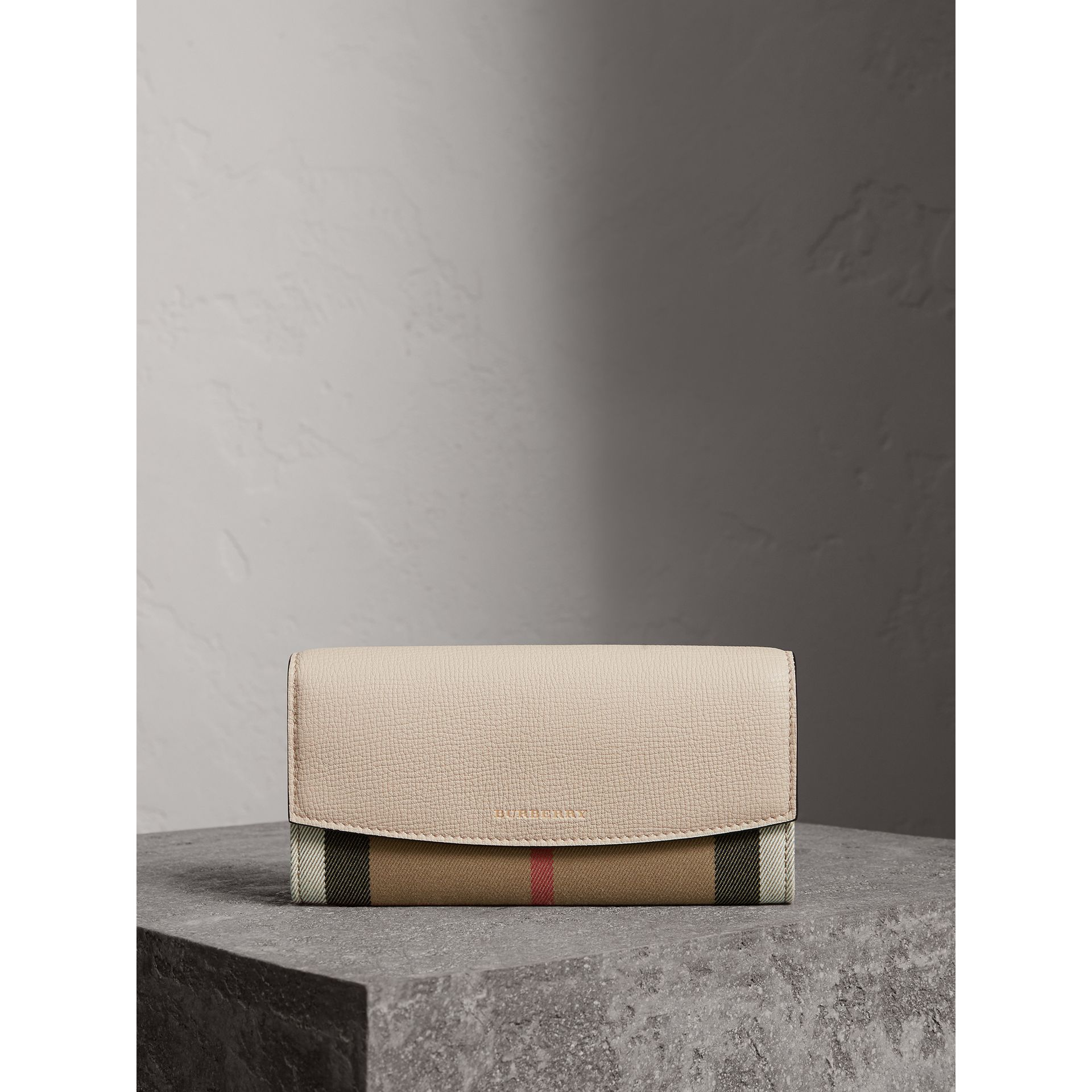 House Check And Leather Continental Wallet in Limestone - Women | Burberry - gallery image 6