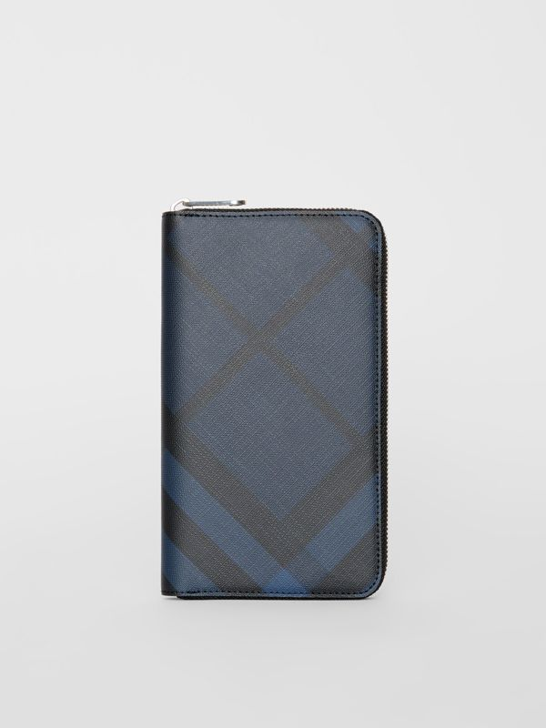 London Check and Leather Ziparound Wallet in Navy/black - Men | Burberry - cell image 2
