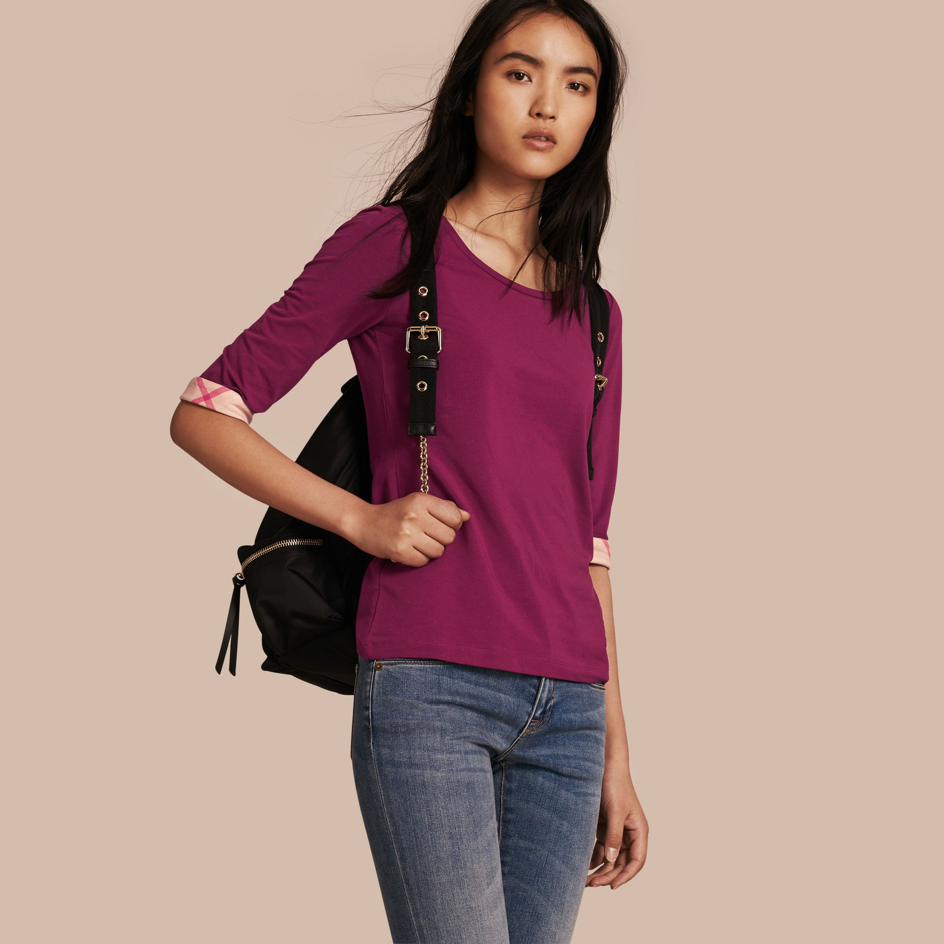 Check Cuff Stretch-Cotton Top Magenta Pink - gallery image 1