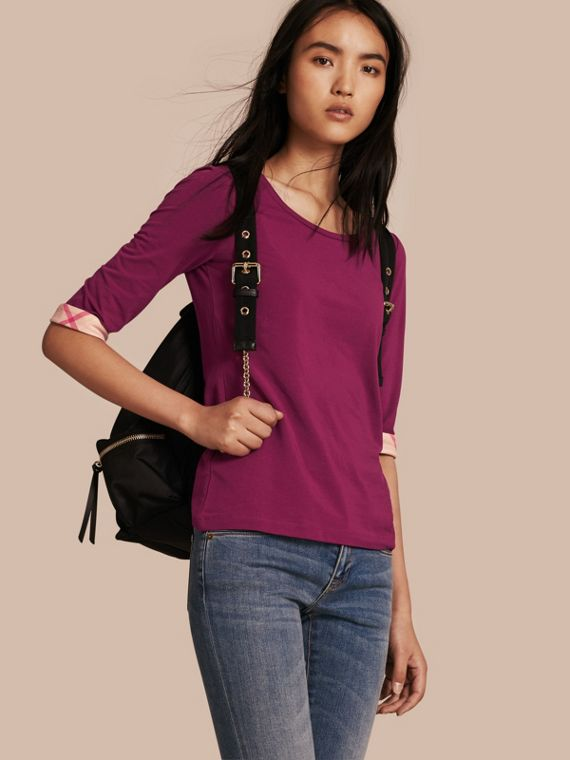 Check Cuff Stretch-Cotton Top
