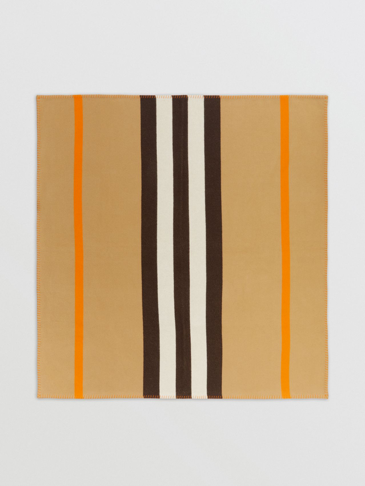 Icon Stripe Merino Wool Cashmere Blanket in Archive Beige