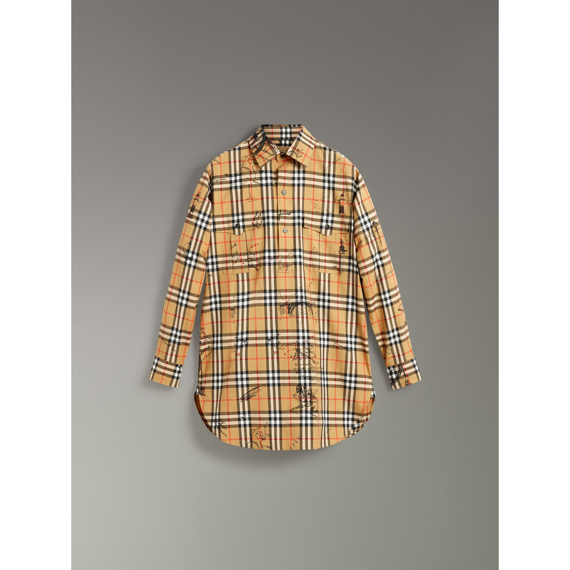 Postcard Print Vintage Check Tunic Shirt in Antique Yellow - Women | Burberry United States - gallery image 3
