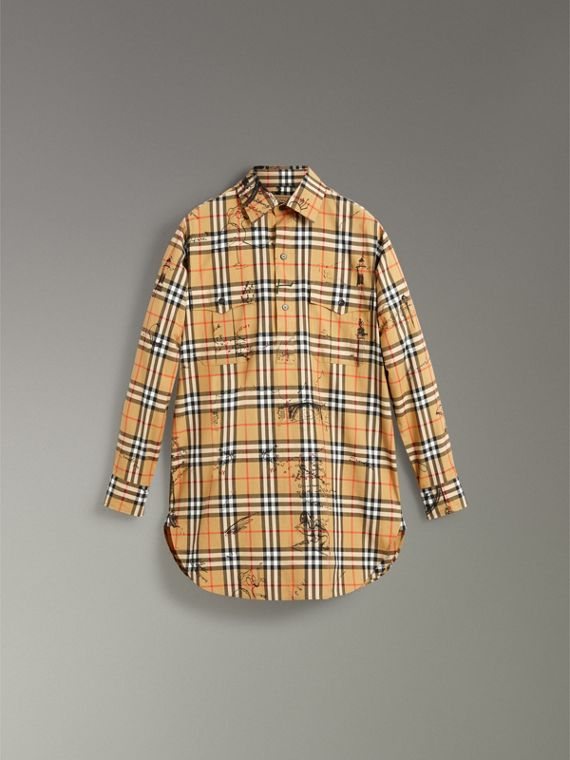 Postcard Print Vintage Check Tunic Shirt in Antique Yellow - Women | Burberry United States - cell image 3