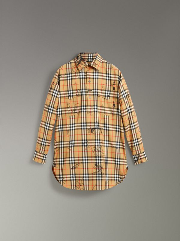 Postcard Print Vintage Check Tunic Shirt in Antique Yellow - Women | Burberry United Kingdom - cell image 3