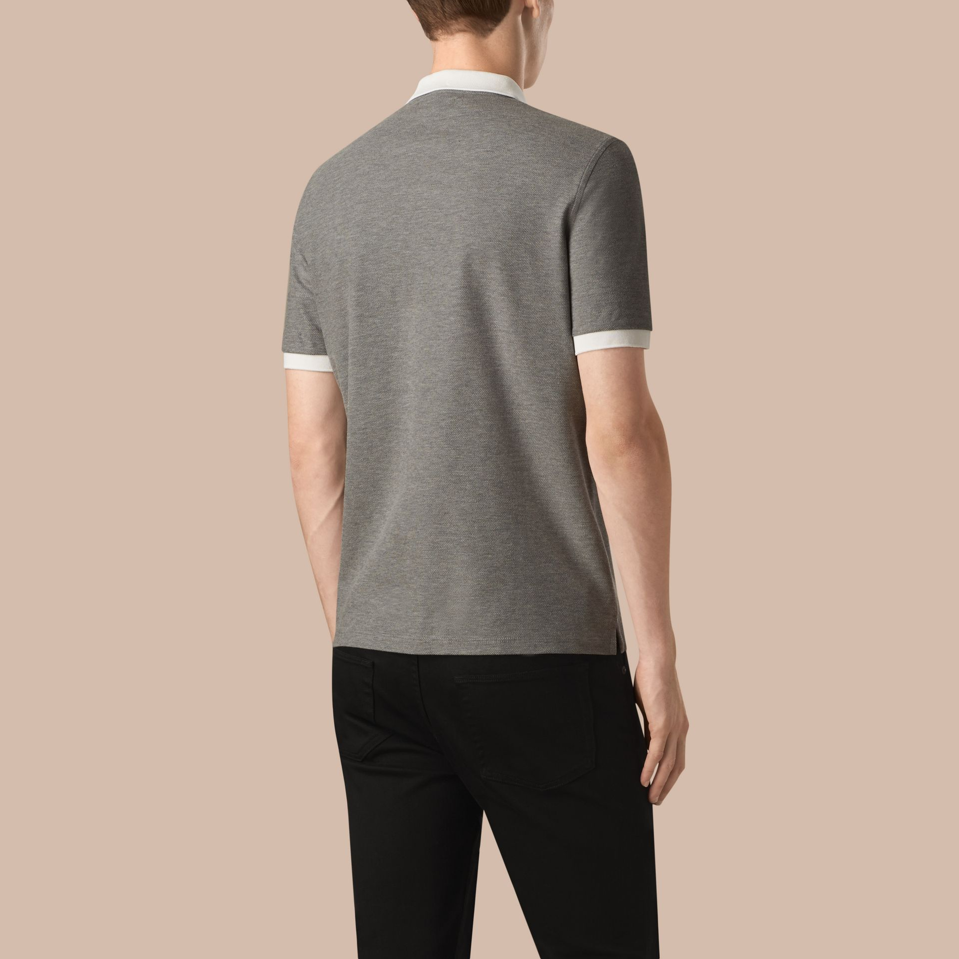 Mid grey melange/white Mercerised Cotton Piqué Polo Shirt Mid Grey Melange/white - gallery image 2