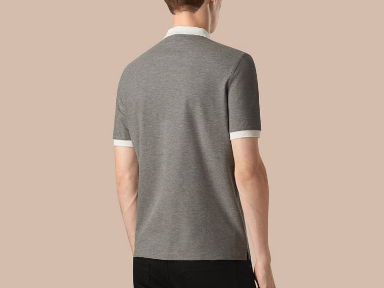 Mid grey melange/white Mercerised Cotton Piqué Polo Shirt Mid Grey Melange/white - cell image 1