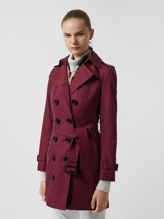 Sandringham Fit Cotton Gabardine Trench Coat in Crimson
