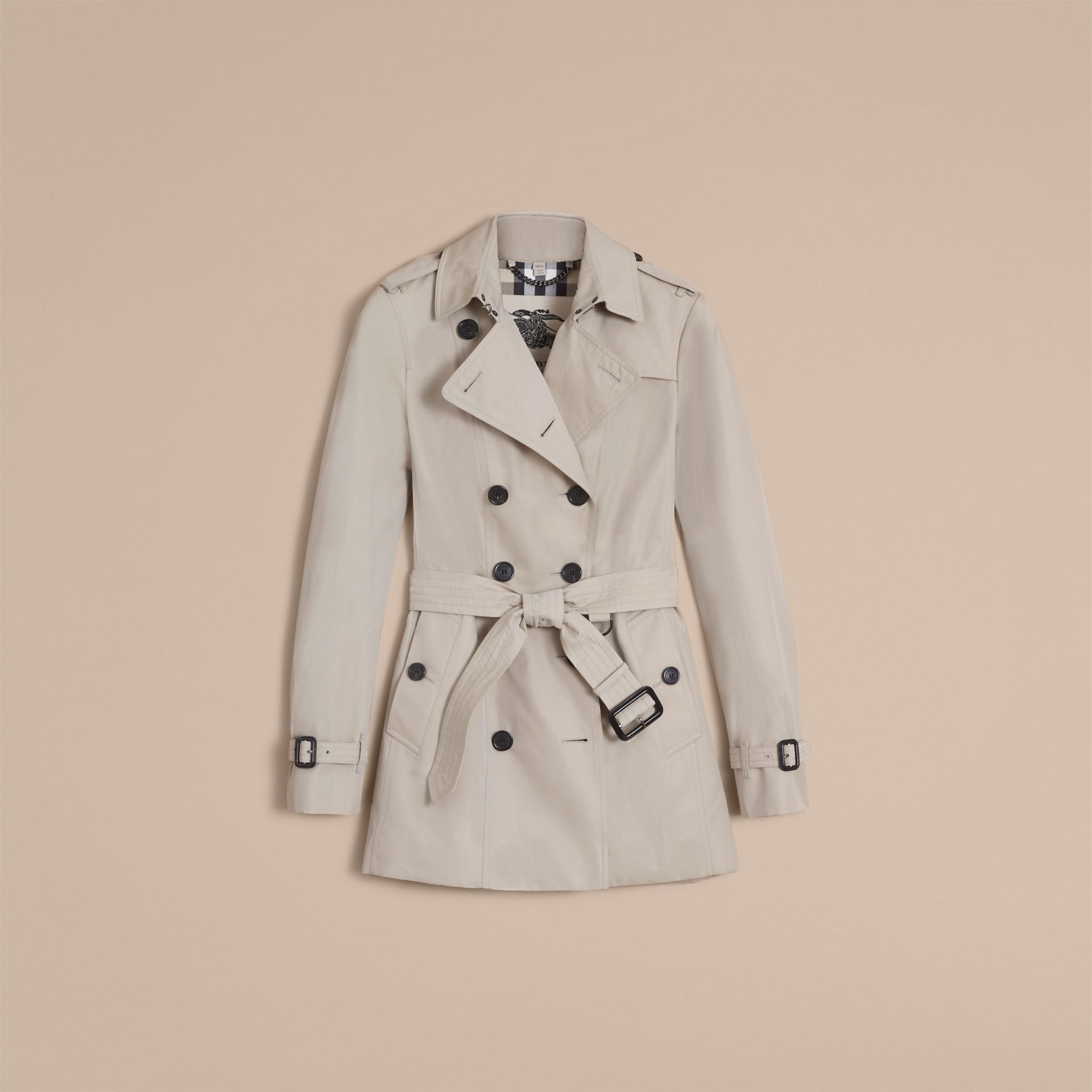 The Sandringham – Short Heritage Trench Coat in Stone - gallery image 4