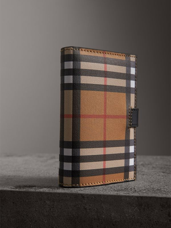 Vintage Check and Leather Folding Wallet in Black - Women | Burberry Australia - cell image 2