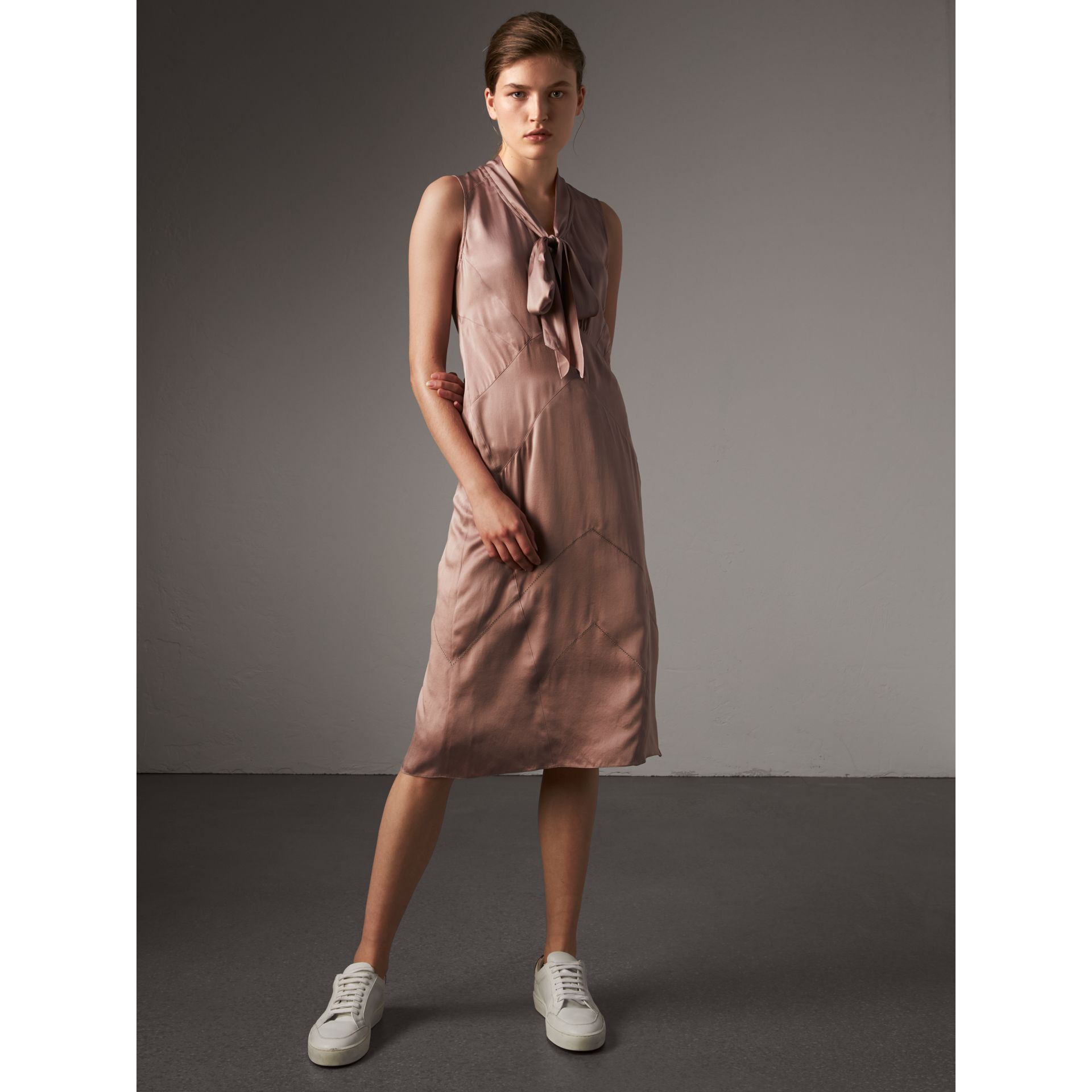 Silk Satin Tie-neck Dress in Antique Taupe Pink - Women | Burberry United Kingdom - gallery image 1