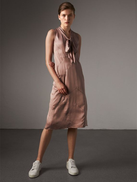 Silk Satin Tie-neck Dress in Antique Taupe Pink - Women | Burberry