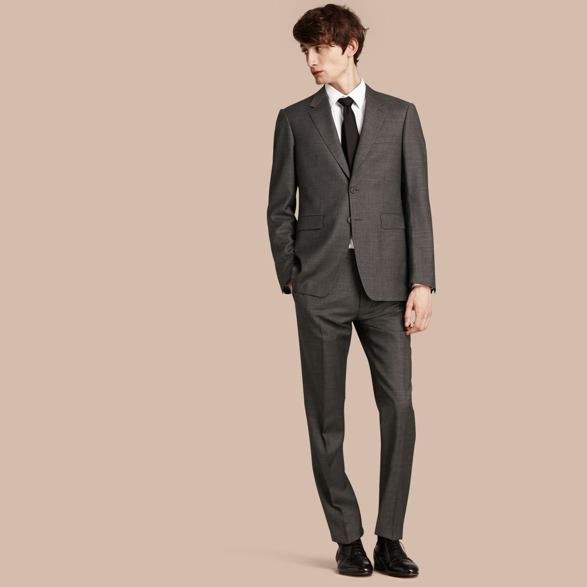 Dark grey melange Modern Fit Travel Tailoring Virgin Wool Suit - gallery image 1