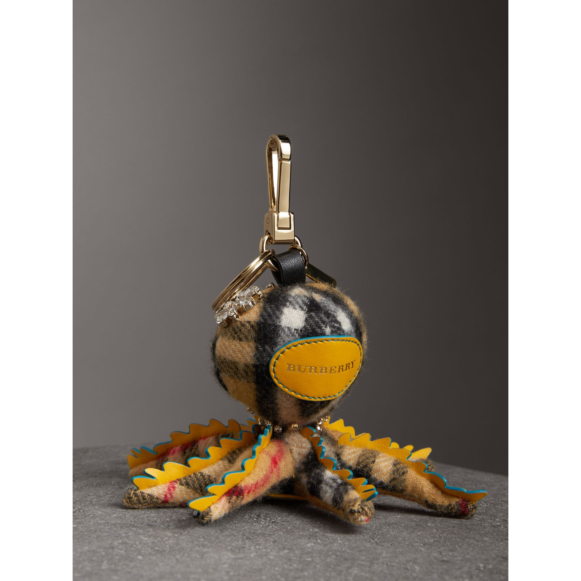Sally The Octopus Cashmere Charm in Antique Yellow Multicolour | Burberry Australia - gallery image 3