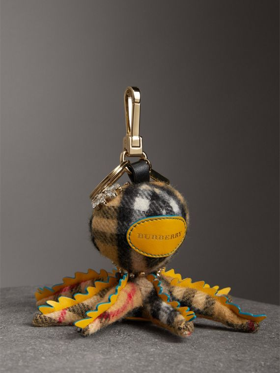 Sally The Octopus Cashmere Charm in Antique Yellow Multicolour | Burberry Australia - cell image 3