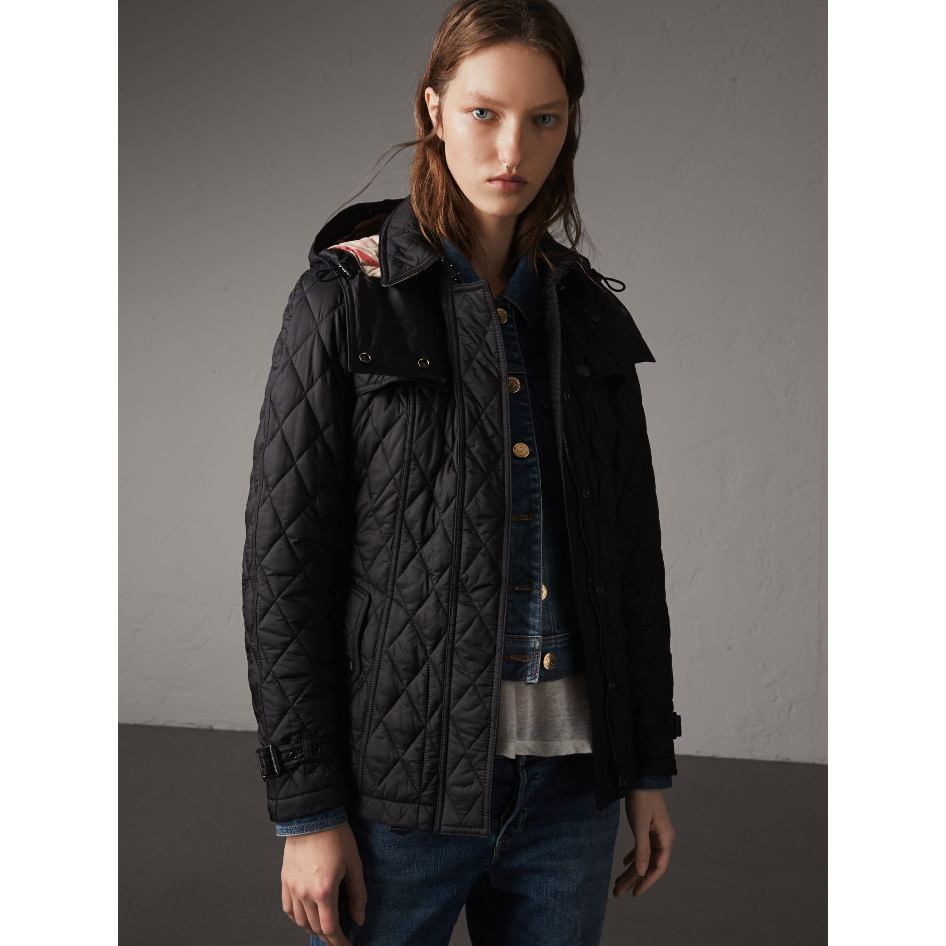 Quilted Trench Jacket with Detachable Hood in Black - Women | Burberry United Kingdom - gallery image 7
