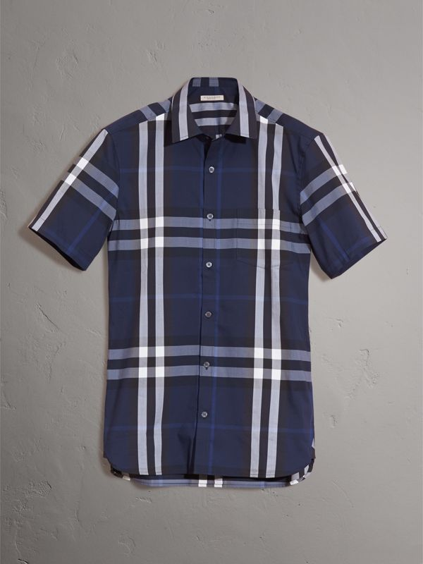 Short-sleeved Check Stretch Cotton Shirt in Indigo Blue - Men | Burberry United States - cell image 3