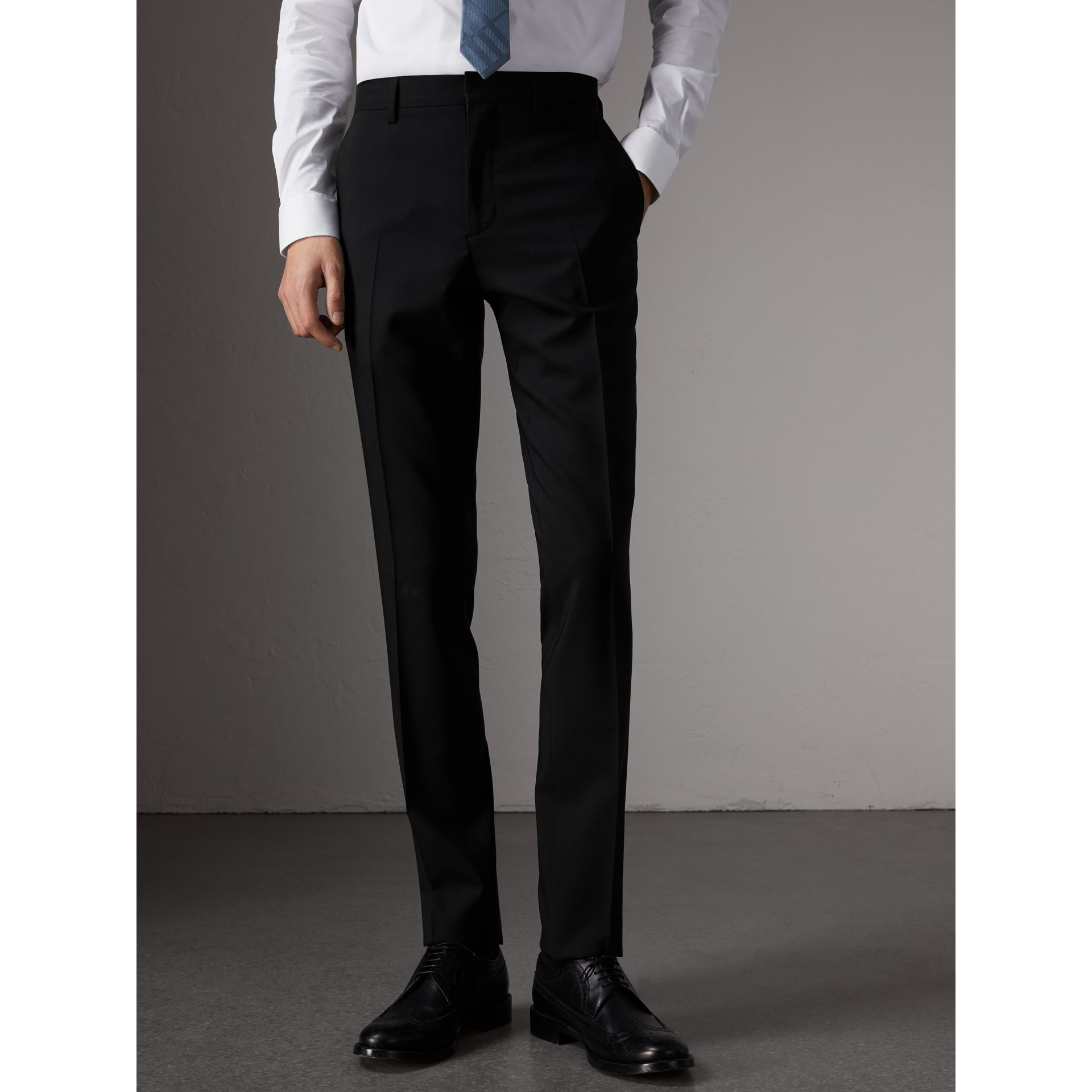 Slim Fit Wool Suit in Black - Men | Burberry Singapore - gallery image 7