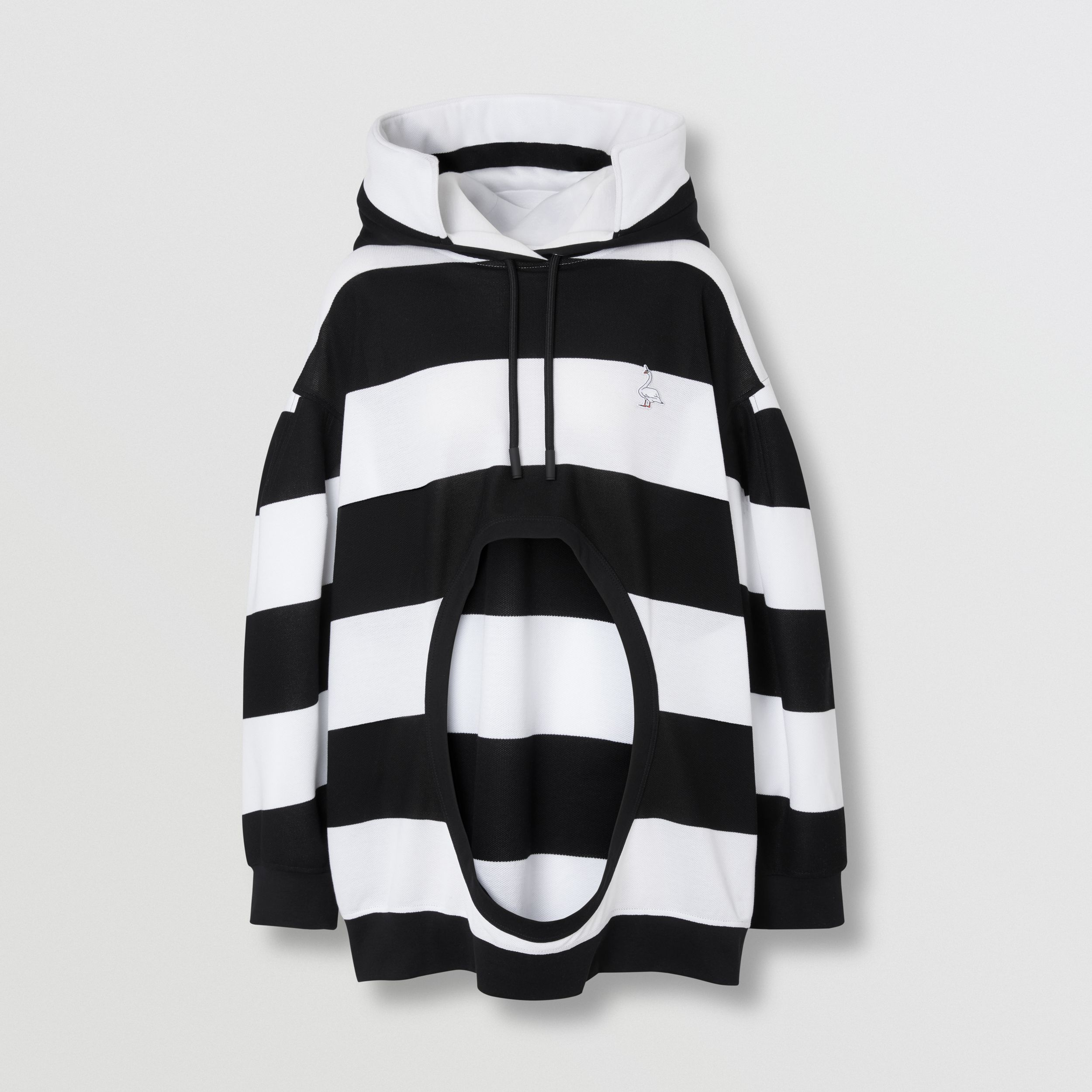 Swan Motif Cut-out Detail Cotton Oversized Hoodie in Black - Women | Burberry - 4