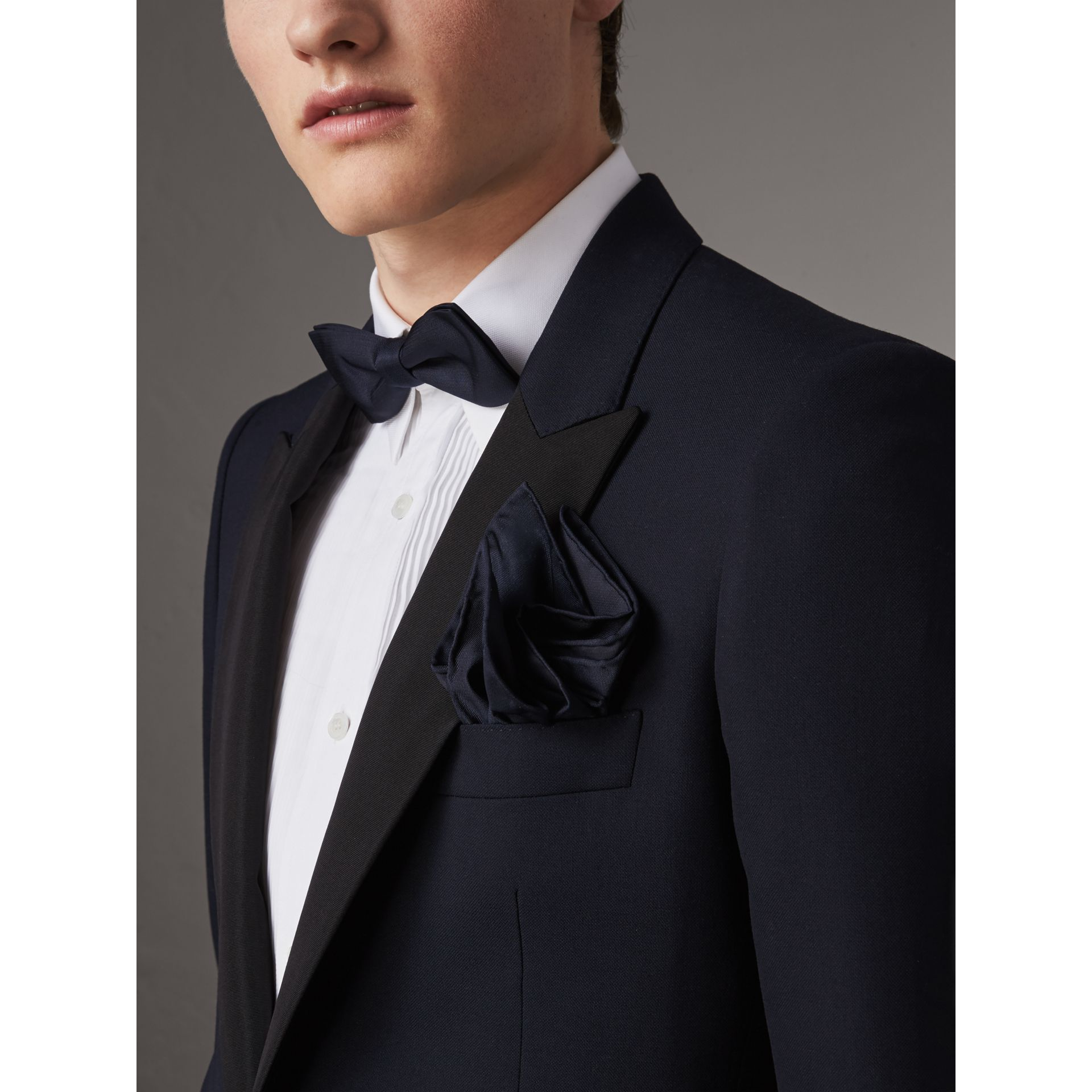 Silk Pocket Square in Midnight - Men | Burberry Canada - gallery image 3