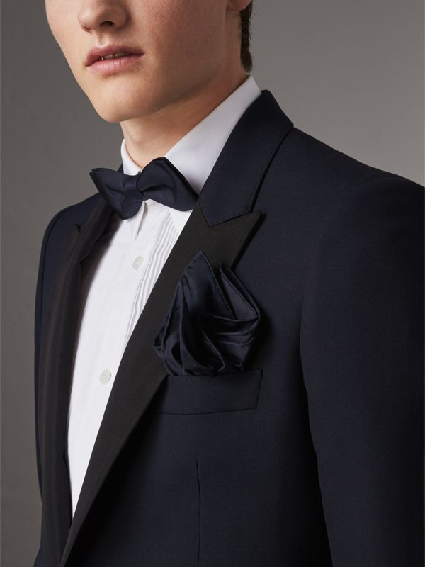 Silk Pocket Square in Midnight - Men | Burberry United Kingdom - cell image 2