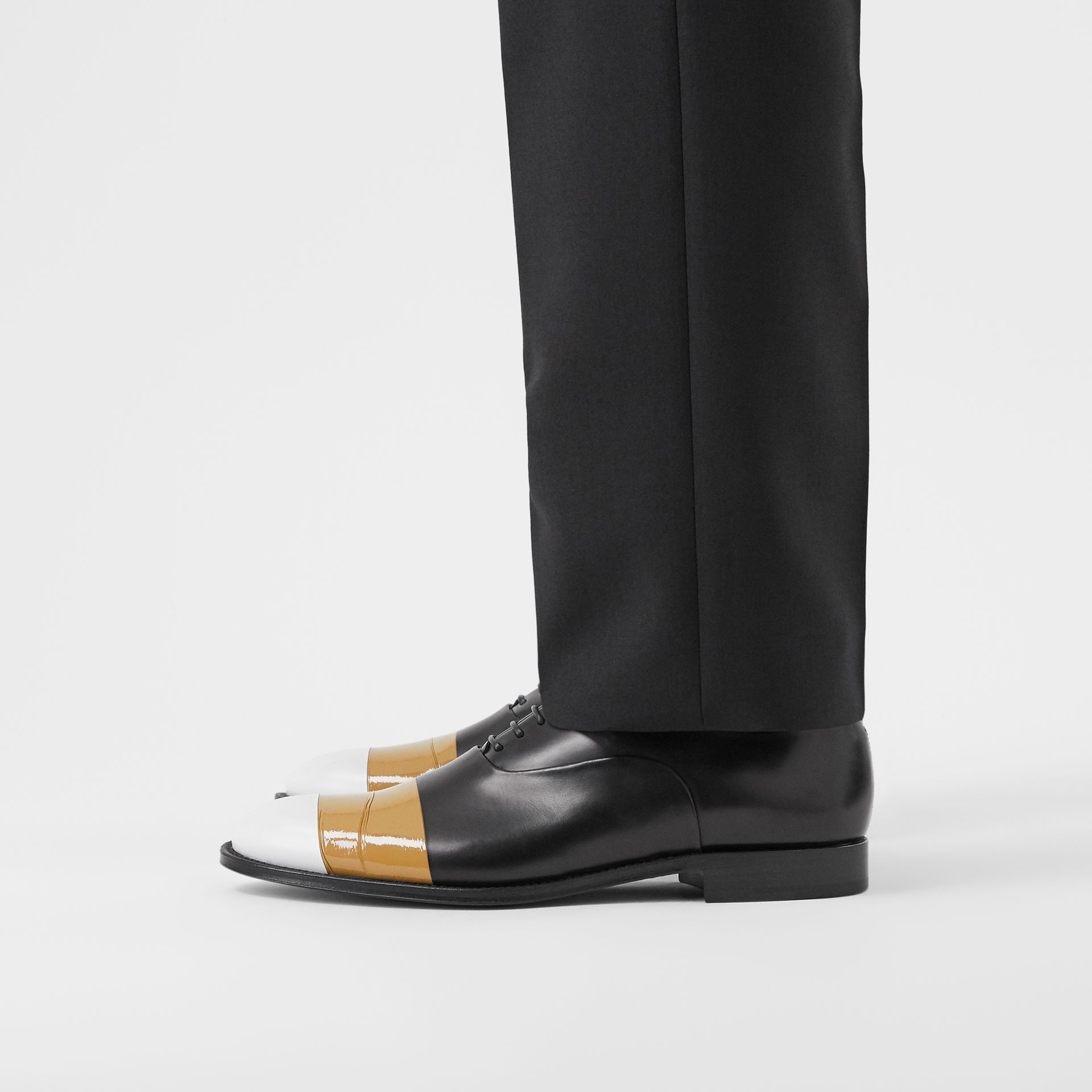 Tape Detail Leather Oxford Shoes in Black/optic White - Men | Burberry - gallery image 2