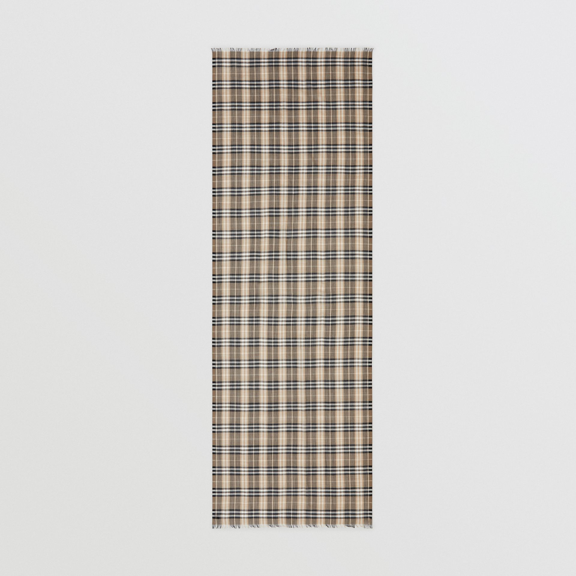 Vintage Check Lightweight Wool Silk Scarf in Pale Honey | Burberry Hong Kong - gallery image 4
