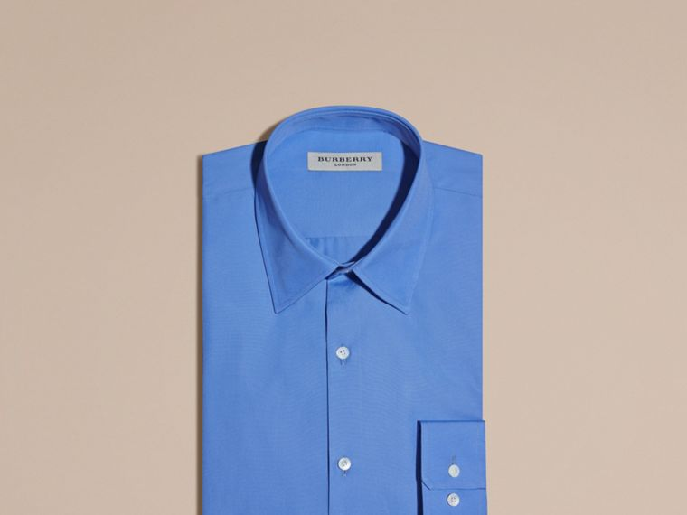 Slim Fit Cotton Poplin Shirt in Mid Blue - cell image 4